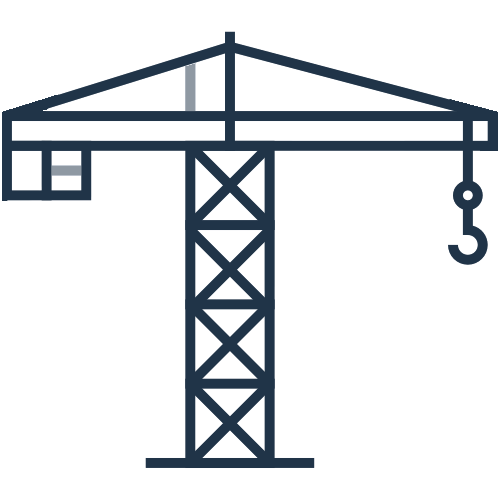 An illustration of a construction crane