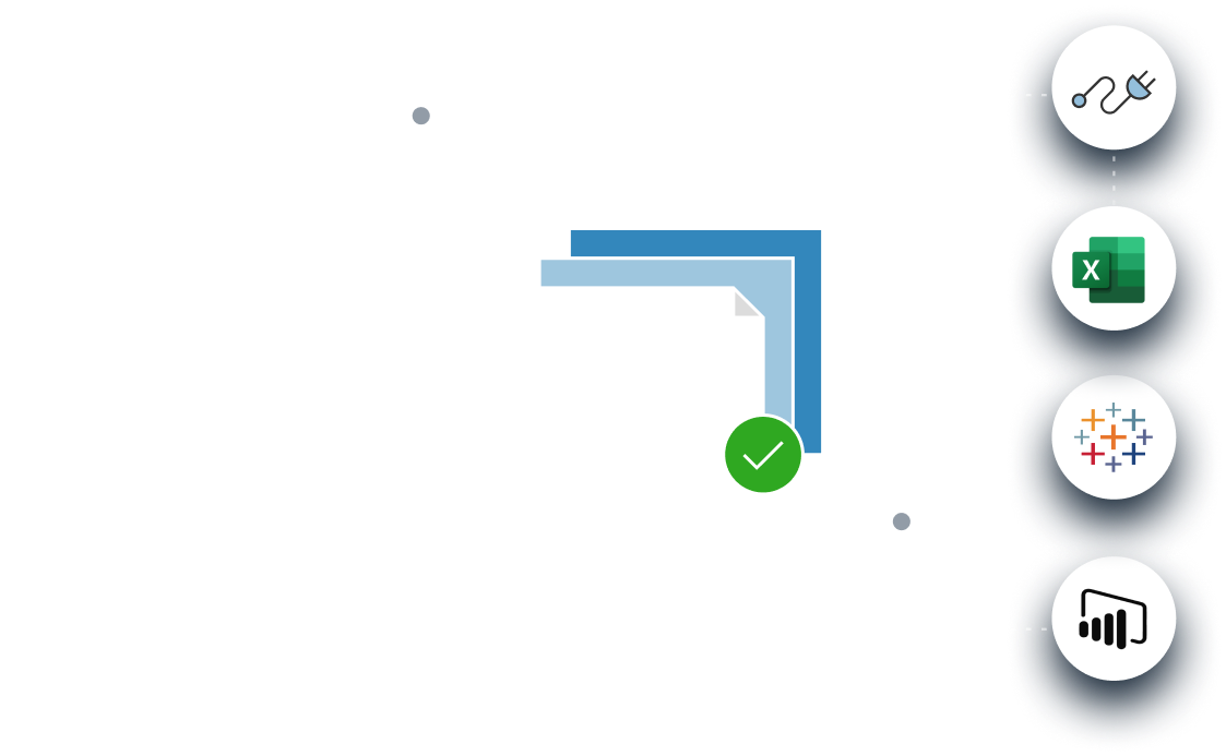 Data flowing from anywhere into a Data Catalog and out to BI tools